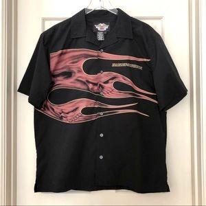 Harley-Davidson   Black Short Sleeve Flame Shirt